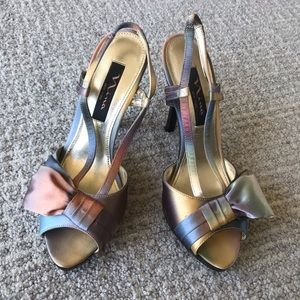 Nina Multicolored Satin Stilettos With Bow Size 7
